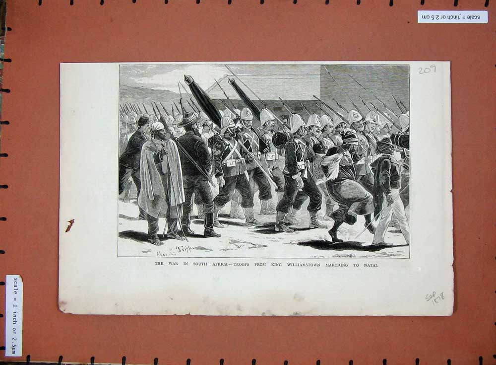 [Print 1878 War South Africa King Williamstown Natal Soldiers 209D508 Old Original]