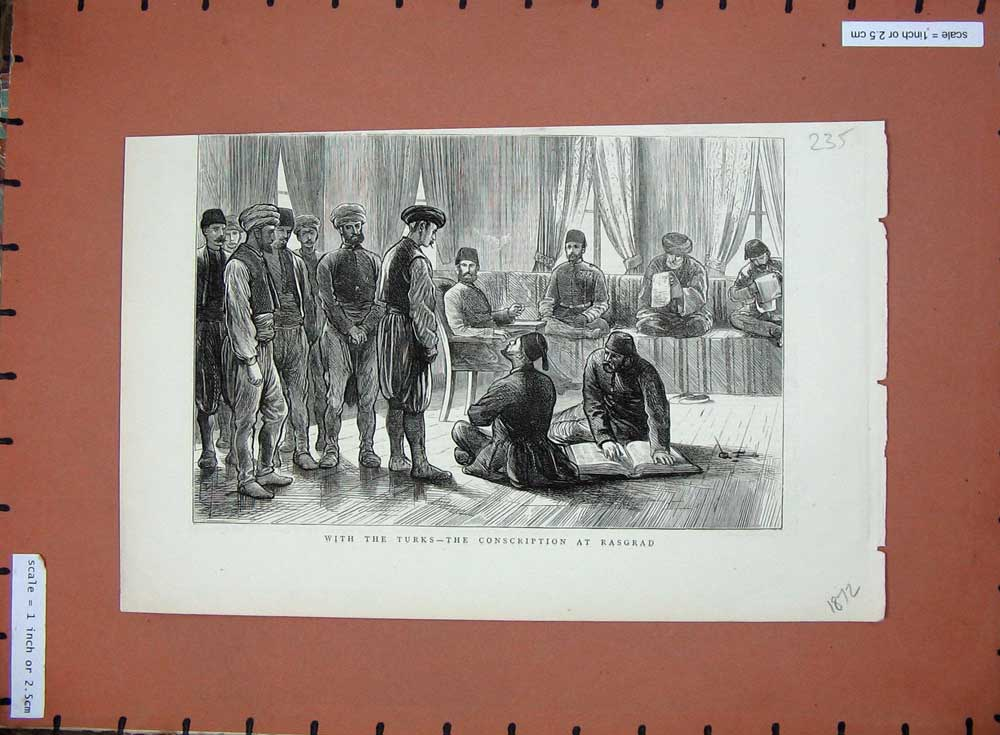 [Print 1872 Conscription Rasgrad Turks War Soldiers 235D508 Old Original]