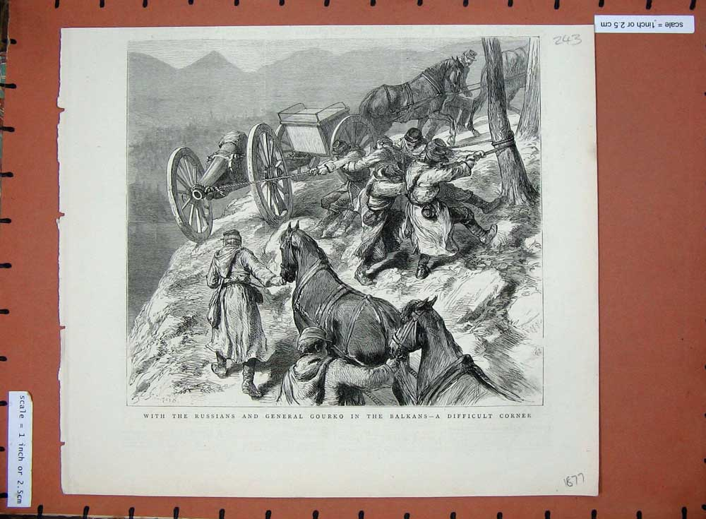 [Print 1877 Russian General Gourko Balkans War Horses 243D508 Old Original]