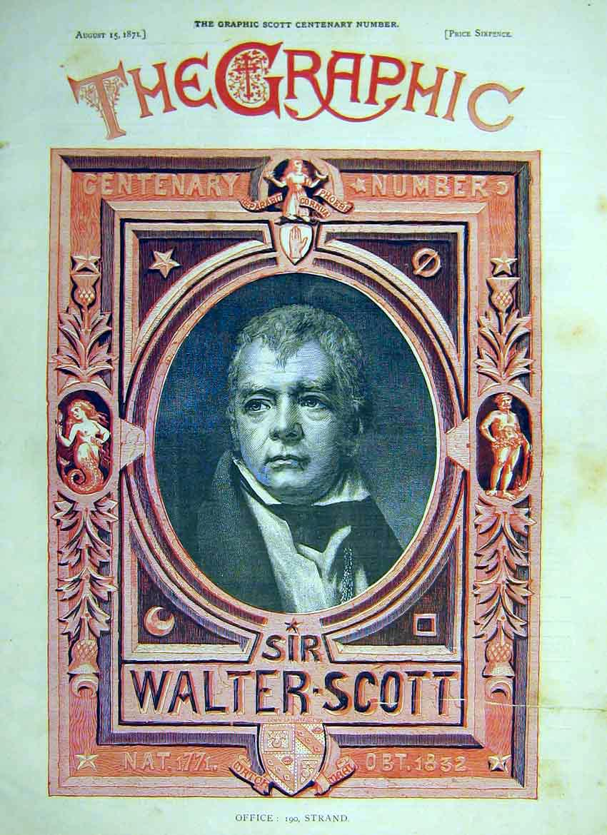 Print Portrait Walter Scott Centenery Number 1871 02Ddd0 Old Original