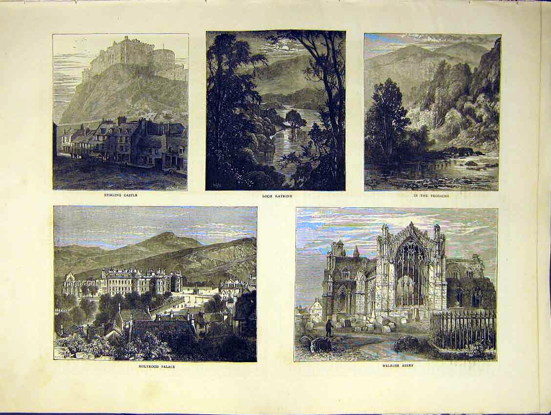 Print Stirling Castle Scotland Katrine Melrose Abbey 1871 08Ddd0 Old Original