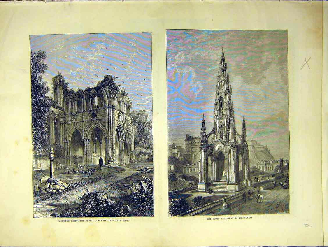 Print Dryburgh Abbey Grave Scott Monument Edinburgh 1871 12Ddd0 Old Original