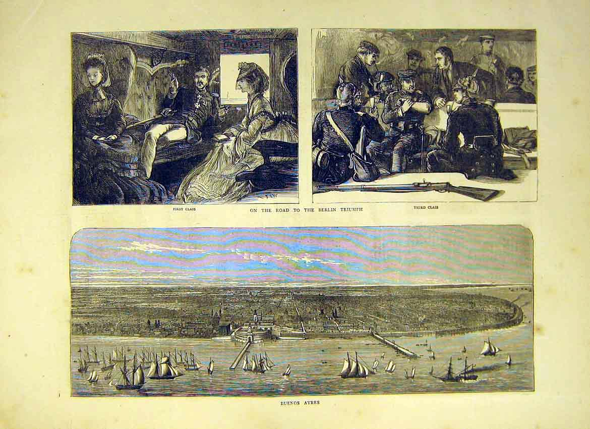 Print Buenos Ayres Port Harbour Ship Cabin Class 1871 22Ddd0 Old Original