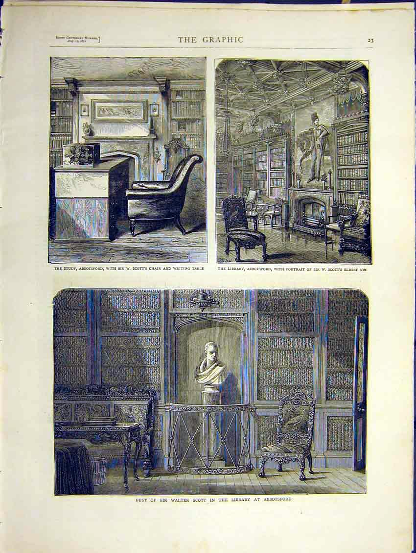 Print Bust Scott Abbotsford Study Library House Room 1871 23Ddd0 Old Original