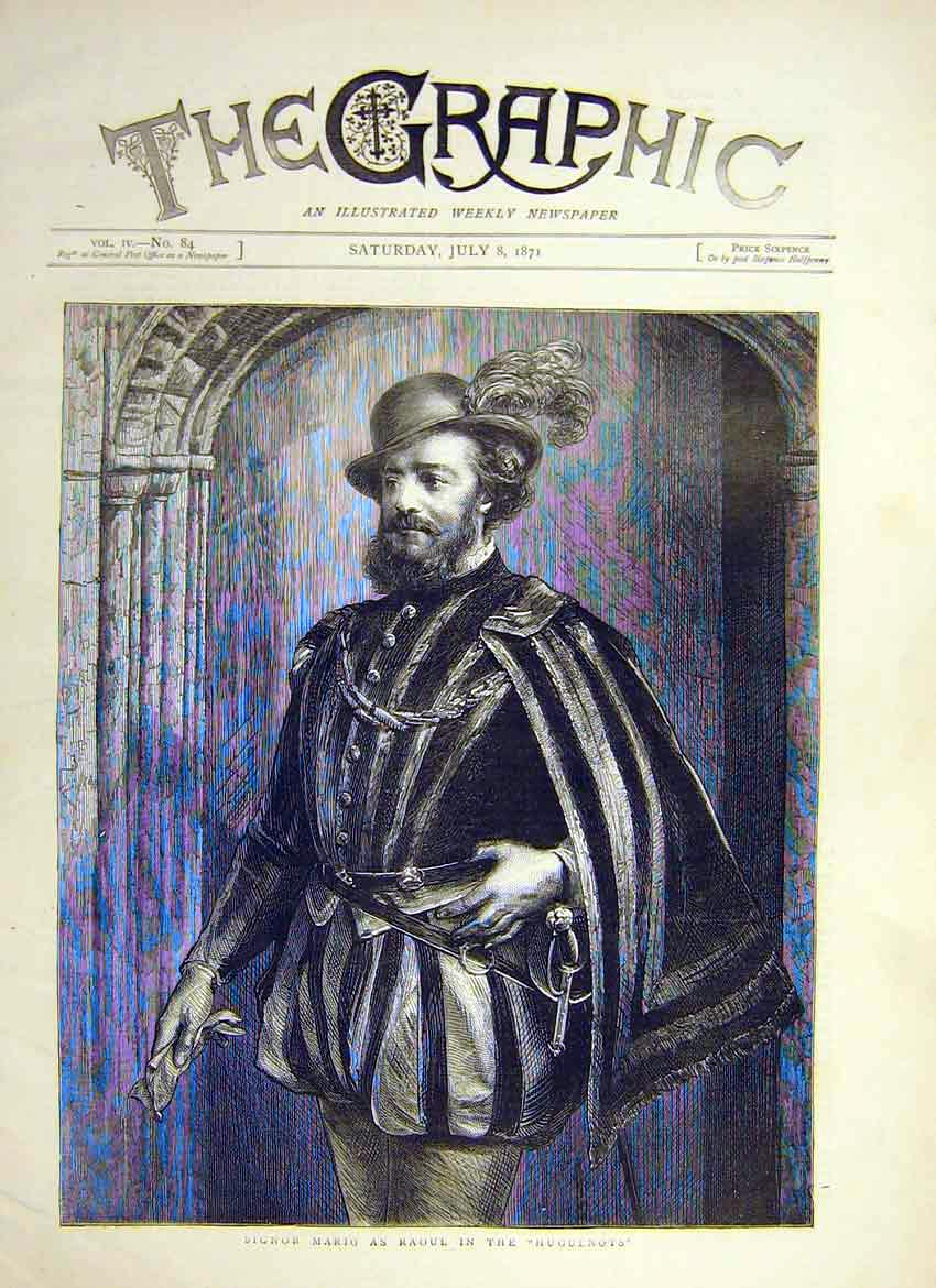 Print Portrait Signor Mario Raoul Play Huguenots Actor 1871 26Ddd0 Old Original
