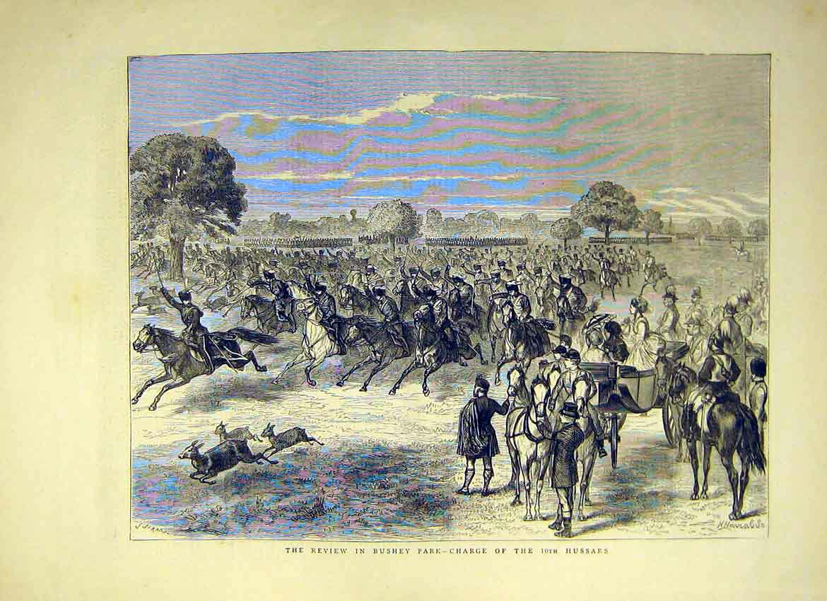Print Review Bushey Park Charge 10Th Hussars 1871 31Ddd0 Old Original