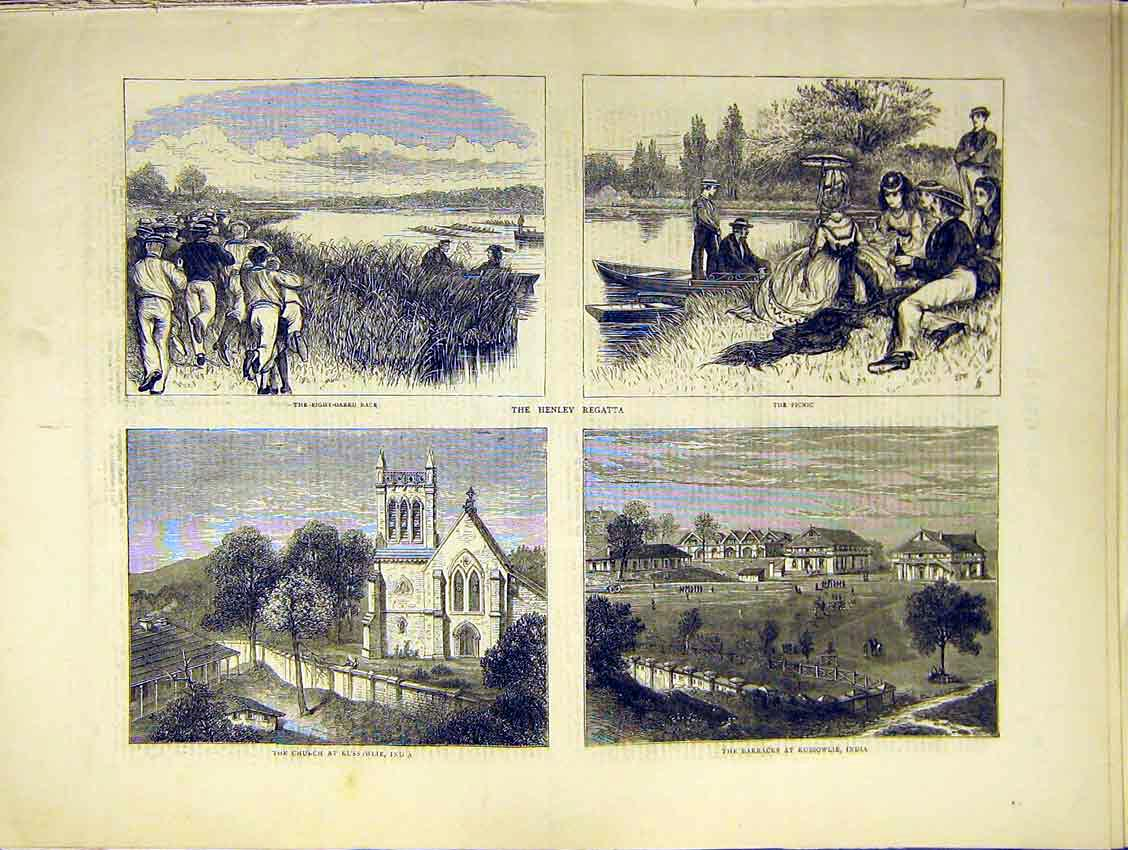 Print Eight Oar Race Boat Henley Regatta Church India 1871 66Ddd0 Old Original