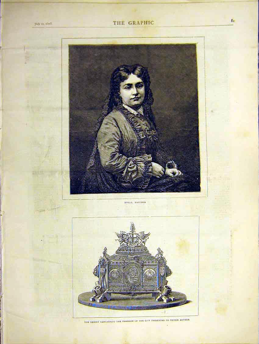 Print Portrait Molle Marimon Casket Freedom City Arthur 1871 81Ddd0 Old Original