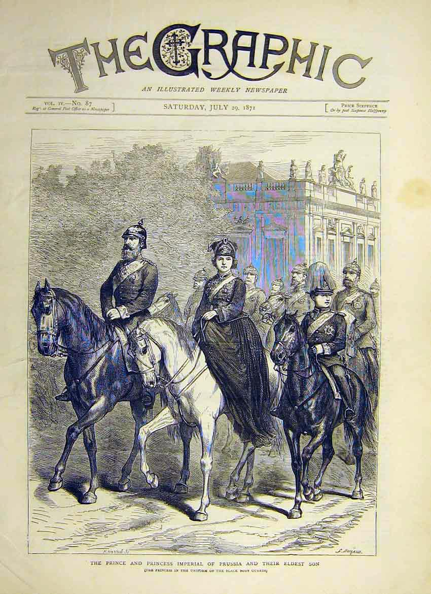 Print Prince Princess Prussia Son Royal Horse Uniform 1871 98Ddd0 Old Original