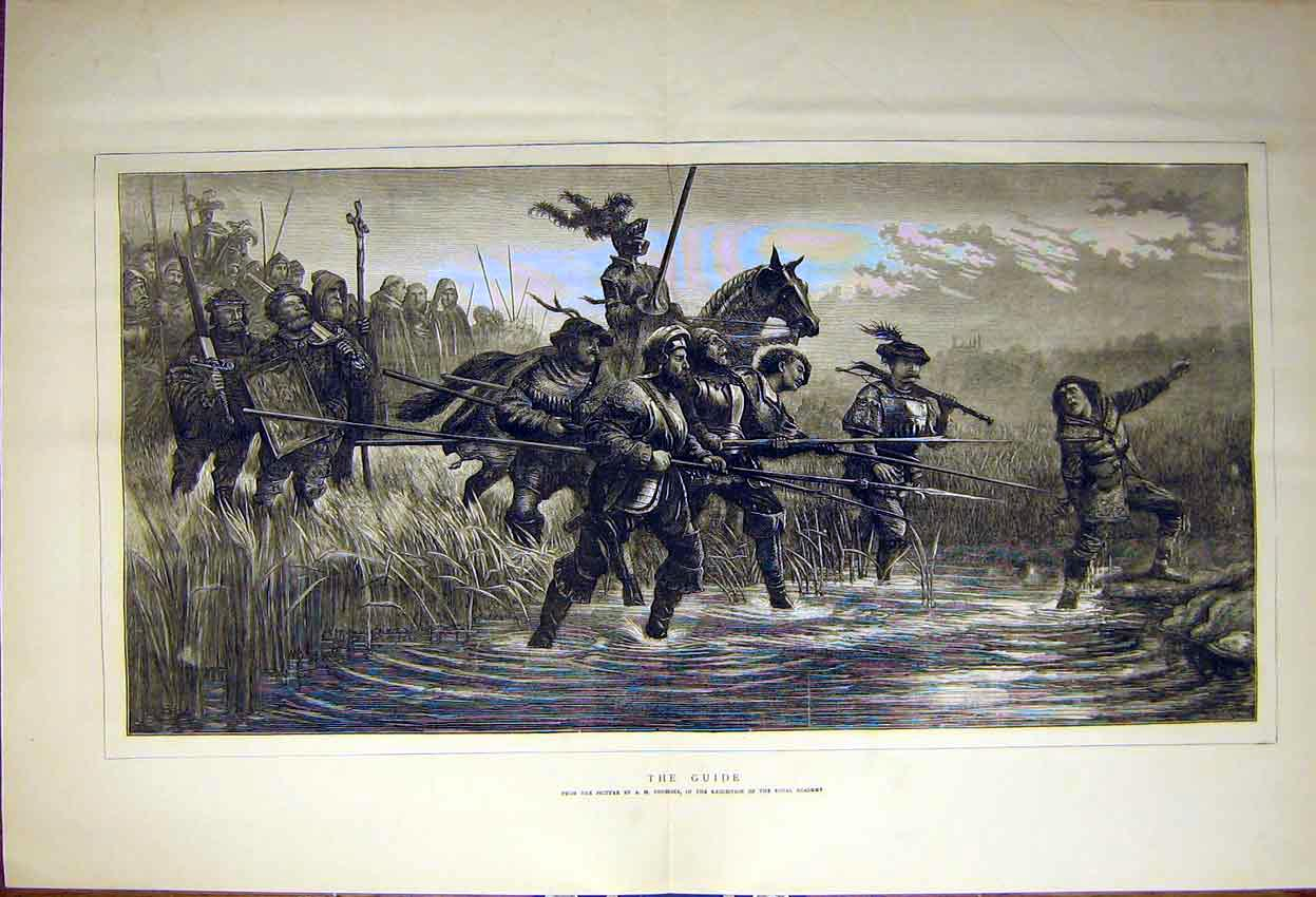 Print Painting The Guide Tourrier Royal Academy Swamp 1871 07Tddd0 Old Original