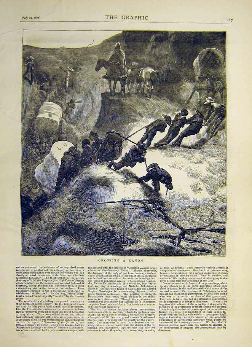 Print Crossing Cannon Army Troops Mountain 1871 17Ddd0 Old Original