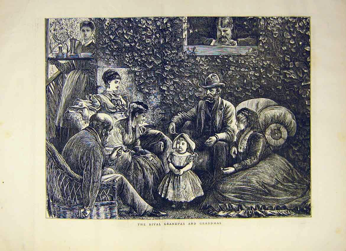 Print Baby Girl Grandma Grandpa Inlaw Family Home 1871 38Ddd0 Old Original