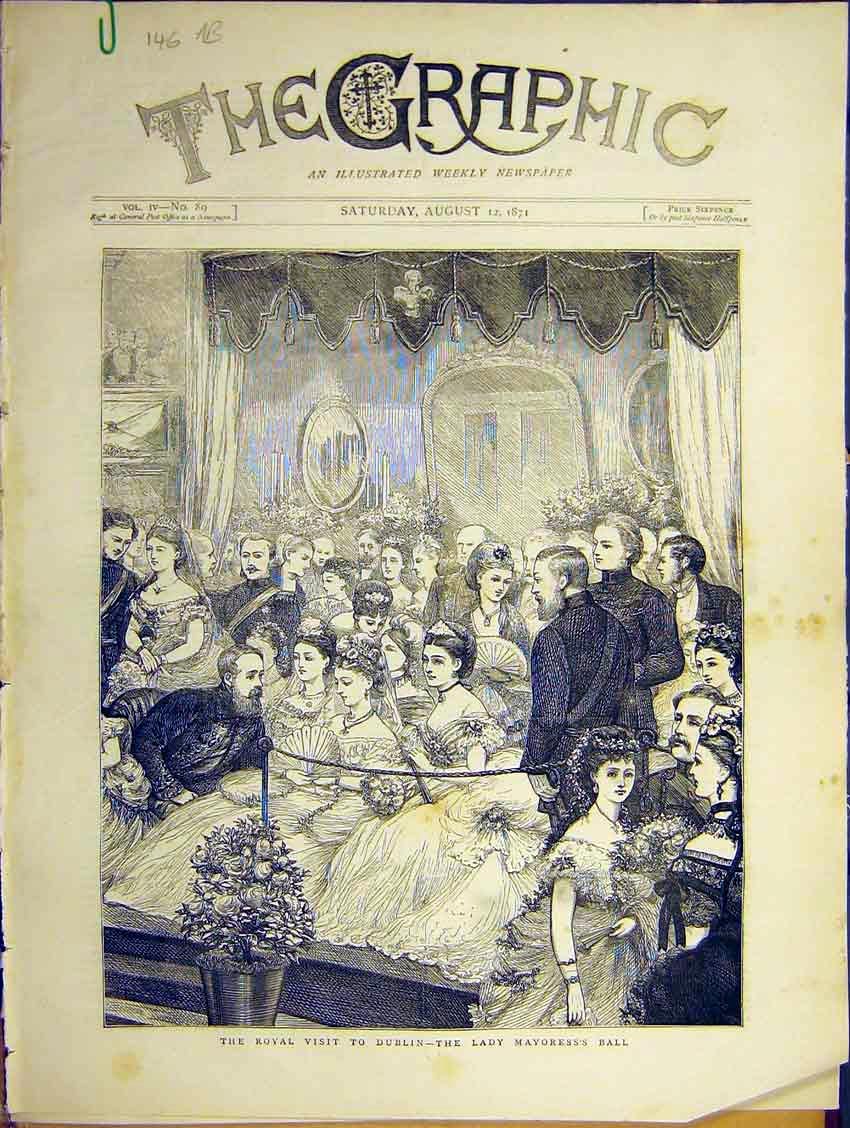 Print Royal Visit Dublin Mayoress Ball Lords Powercourt 1871 46Addd0 Old Original