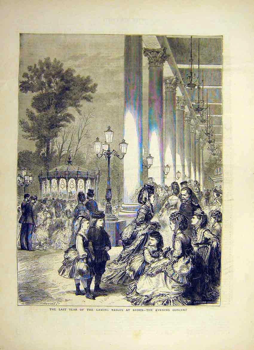 Print Last Year Gaming Tables Baden Concert 1871 75Ddd0 Old Original