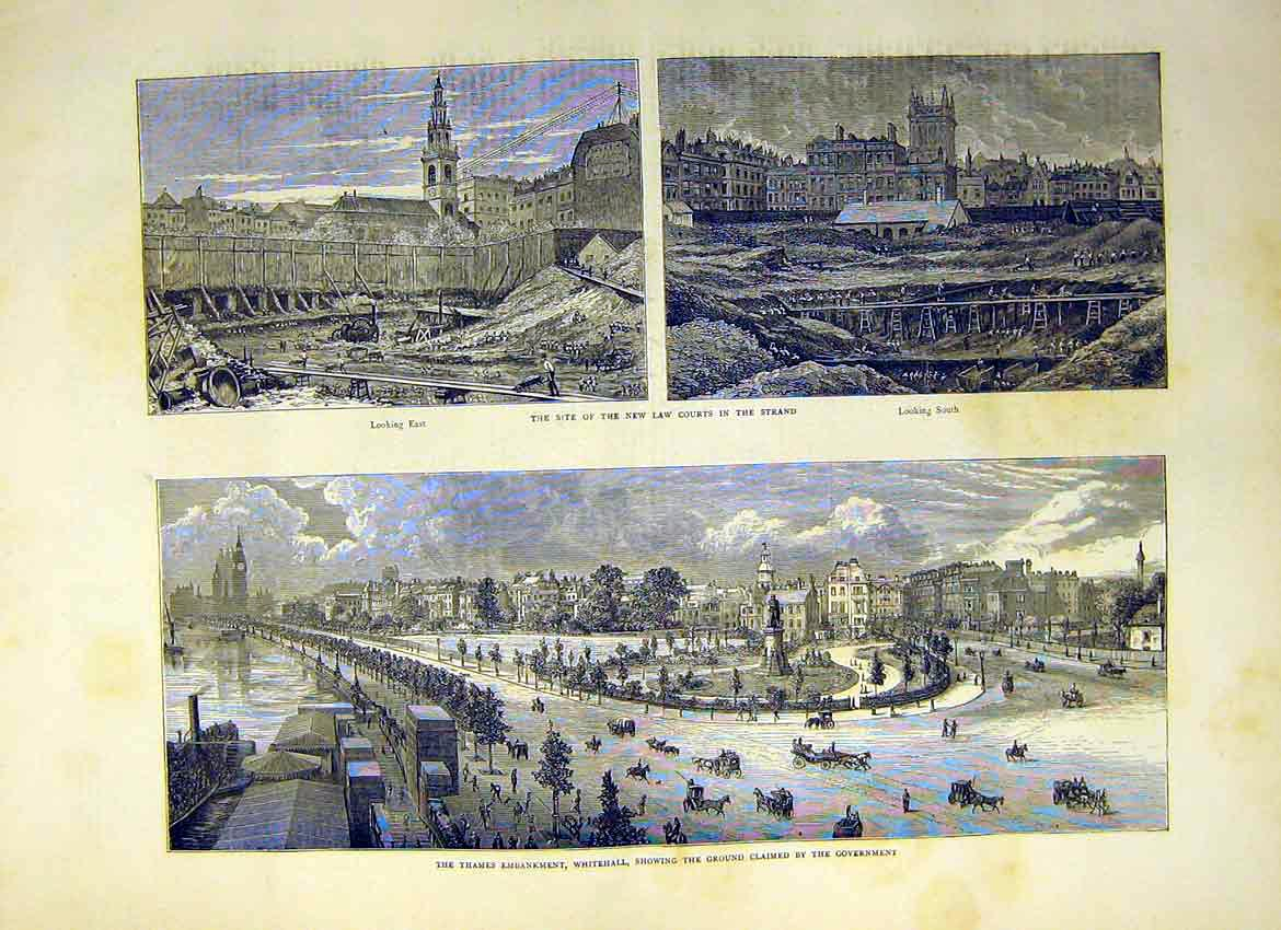 Print Thames Embankment Whitehall Strand Courts Law 1871 02Ddd0 Old Original