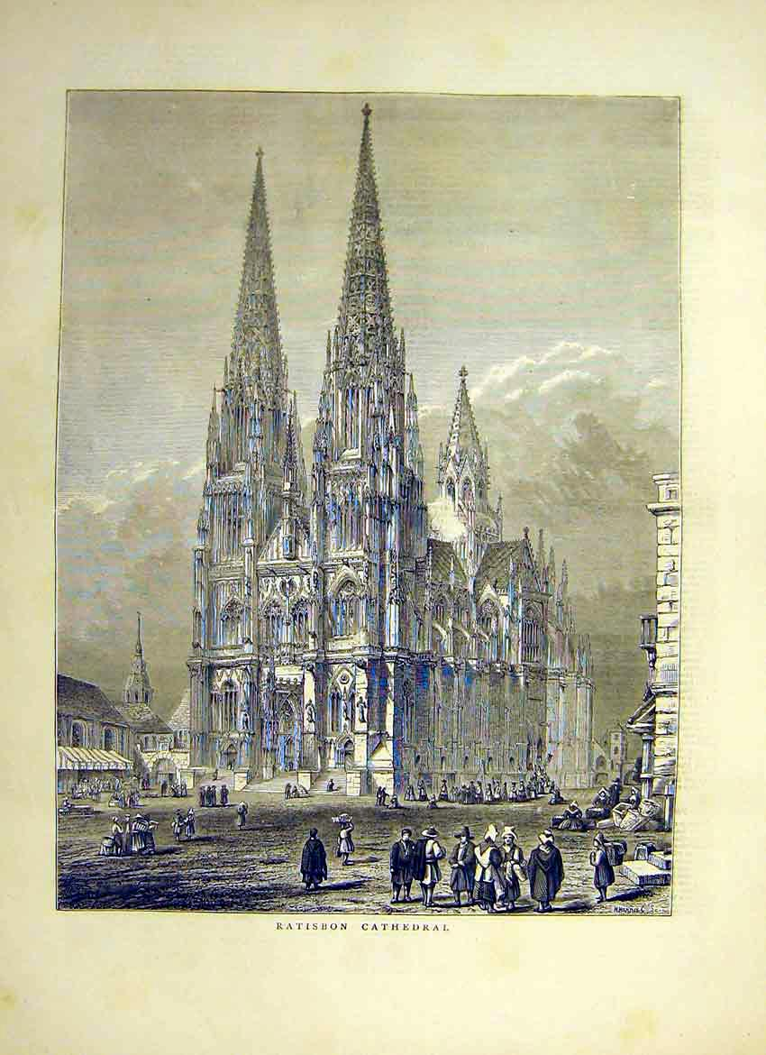 Print Ratisbon Cathedral Building Square Court 1871 03Ddd0 Old Original