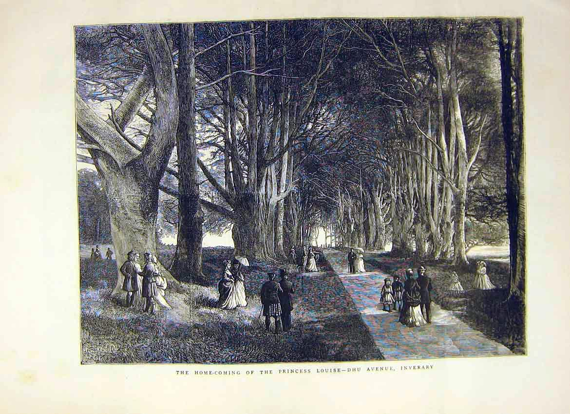 Print Home Coming Princess Louise Dhu Avenue Inverary 1871 22Ddd0 Old Original
