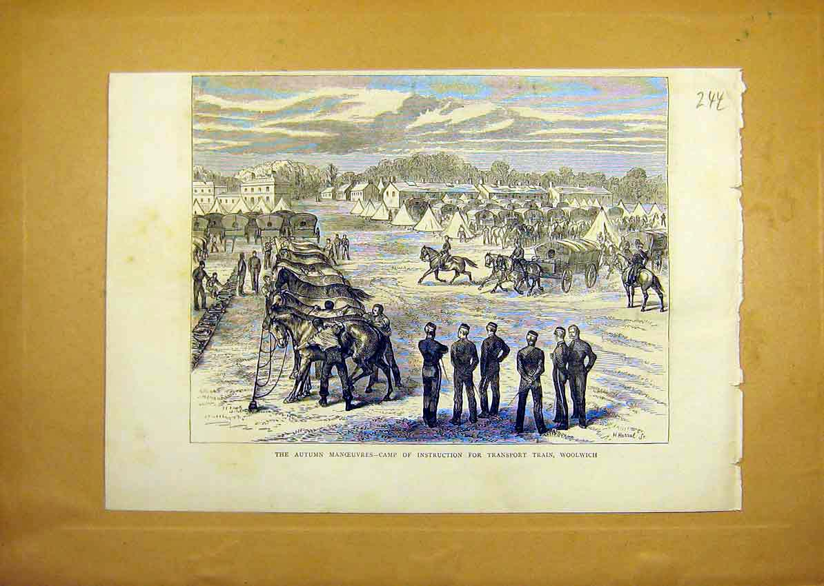 Print Woolwich Autumn Manouvres Camp Soldiers Train 1871 44Lddd0 Old Original