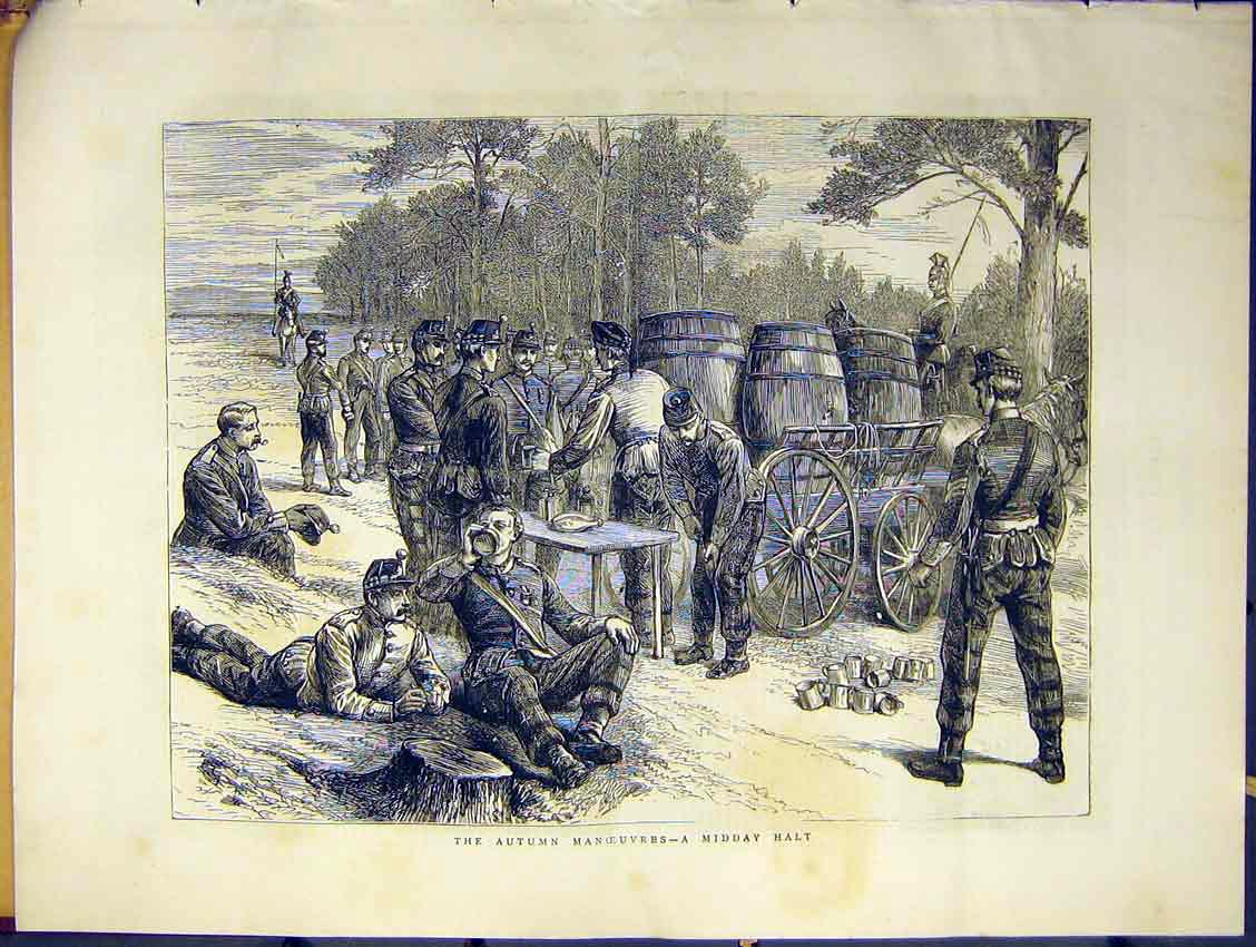 Print Soldier Army Autumn Manouvres Midday Halt Drink 1871 50Ddd0 Old Original