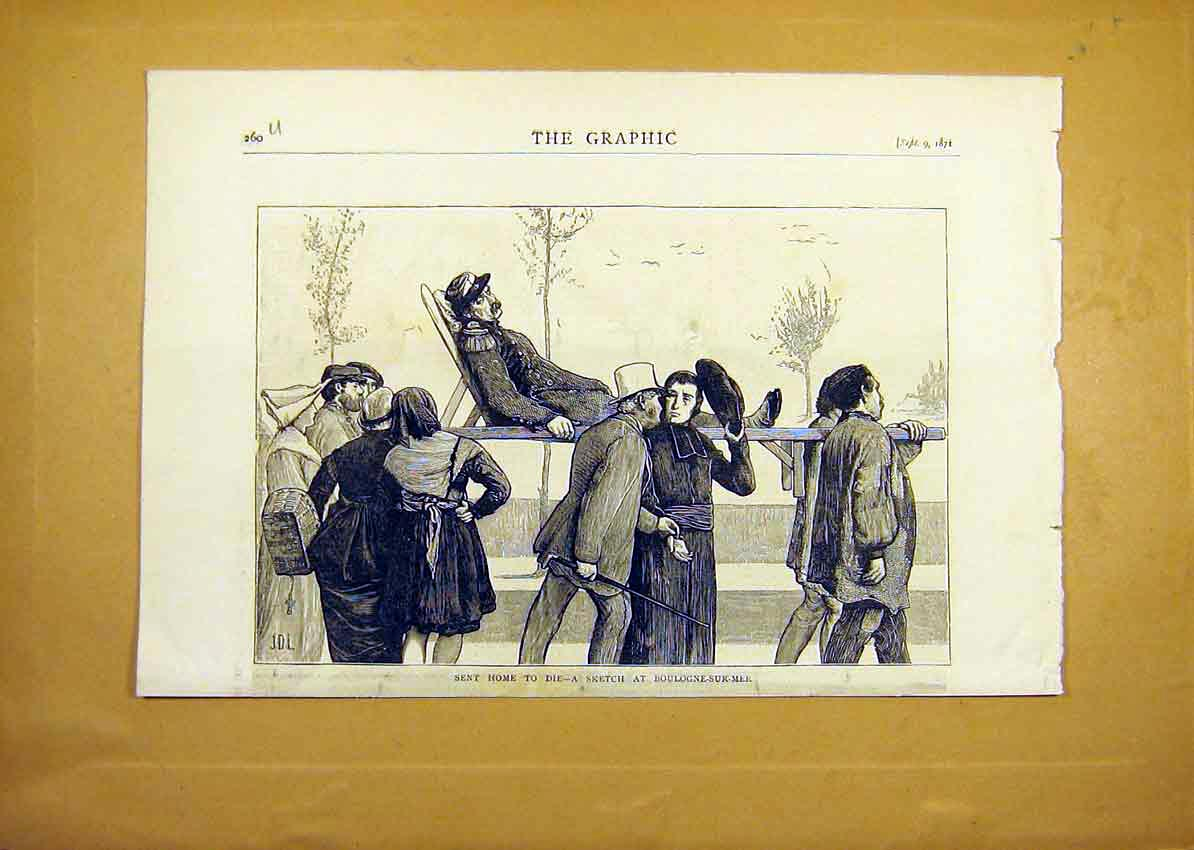 Print Boulogne-Sur-Mer Soldier Carry Home Die Injured 1871 60Uddd0 Old Original