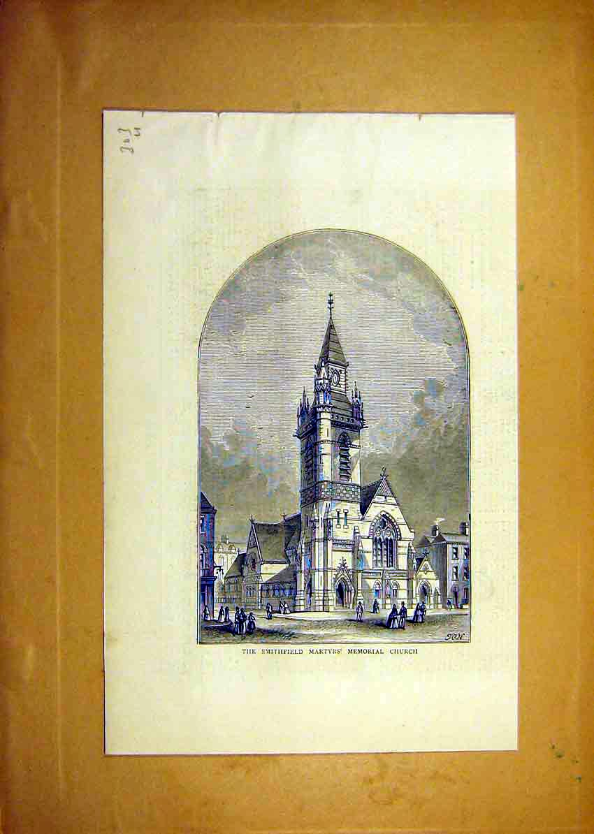 Print Smithfield Martyrs Memorial Church Holy 1871 03Uddd0 Old Original