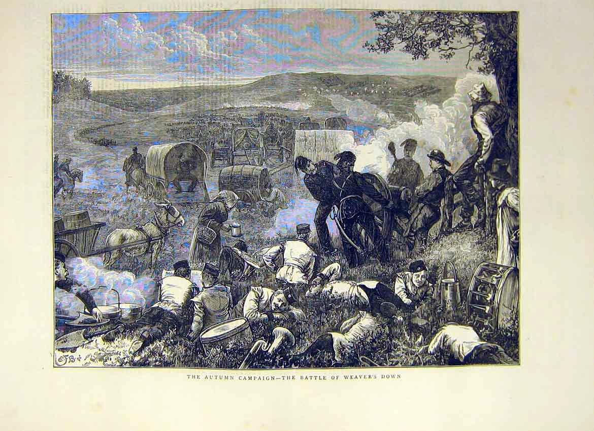 Print Autumn Campaign Battle Weaver'S Down Army Camp 1871 18Ddd0 Old Original