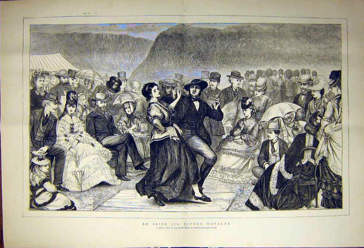 Print Jig Dance Royalty Visit Ireland Glendalough Dublin 1871 23Tddd0 Old Original