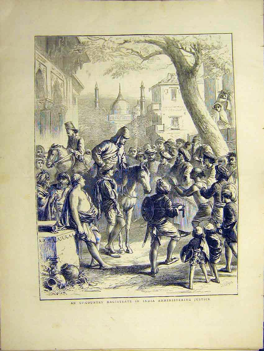 Print Country Magistrate India Justice Town Street 1871 75Ddd0 Old Original