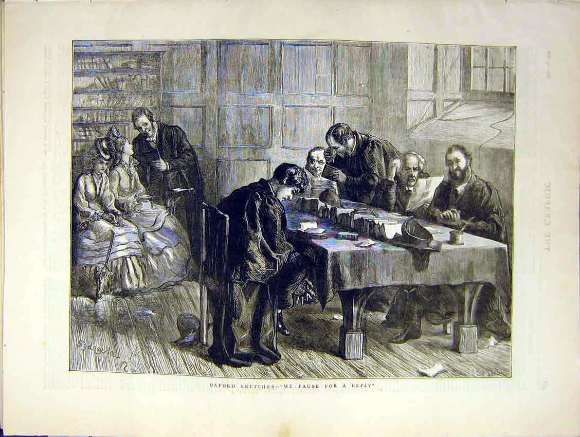 [Print Oxford Sketch Study Dons Writing Letter Reading 1871 78Ddd0 Old Original]