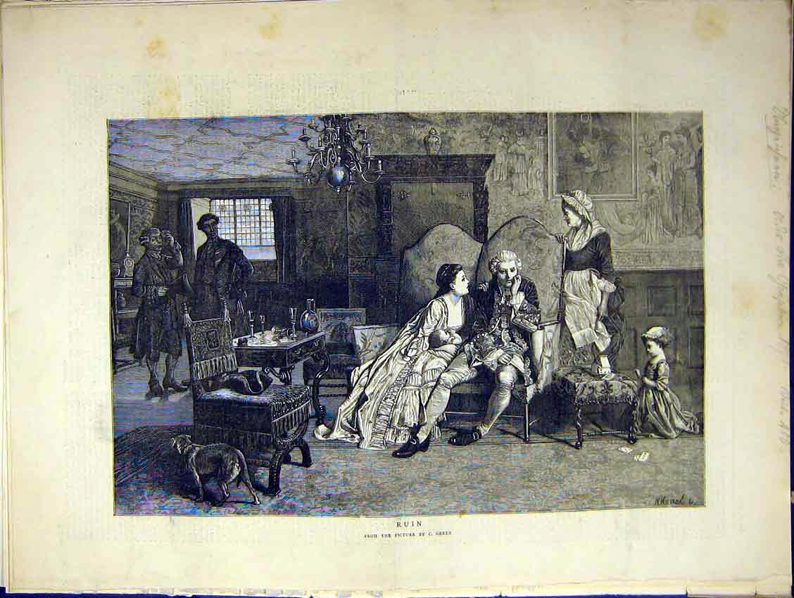 [Print Painting Ruin Green Artist Lord Manor Home Family 1871 99Ddd0 Old Original]