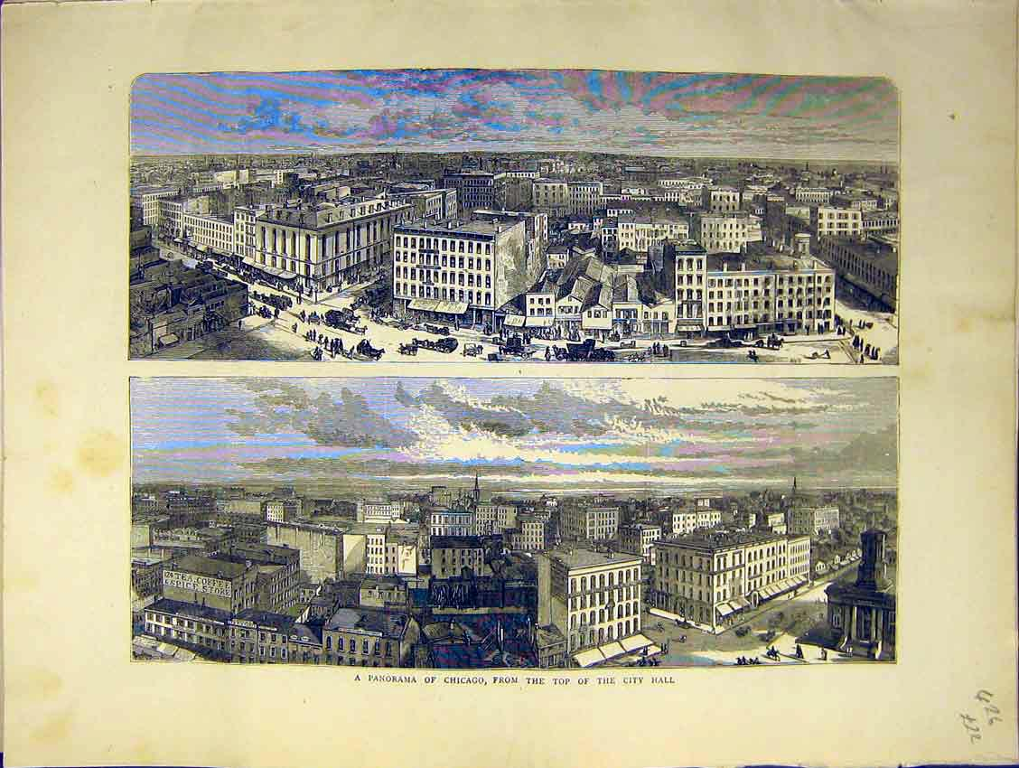 Print Panorama Chicago City Hall View Scene Streets 1871 26Ddd0 Old Original