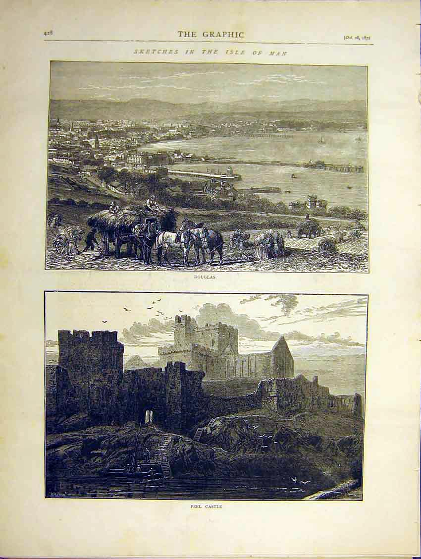 Print Isle Man Sketches Douglas Peel Castle 1871 28Ddd0 Old Original