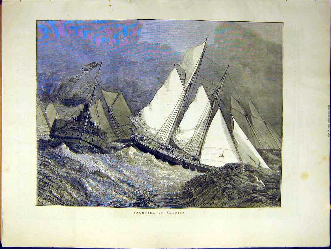 Print Yachting America Sales Sea Ship Yacht Steam Waves 1871 50Ddd0 Old Original