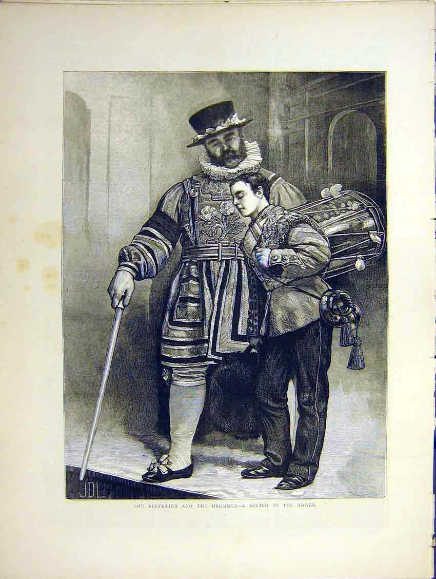 Print Painting Beefeater Drummer London Tower Fine Art 1871 83Ddd0 Old Original