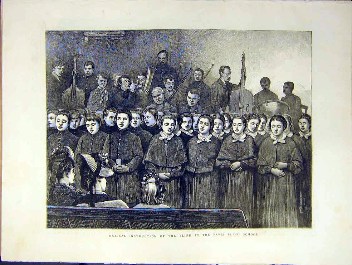 Print Music Instruction Blind Paris School Choir Song 1871 14Ddd0 Old Original