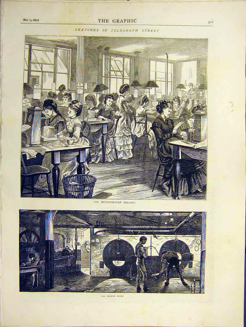 Print Telegraph Street Metro Gallery Engine Room 1871 21Ddd0 Old Original