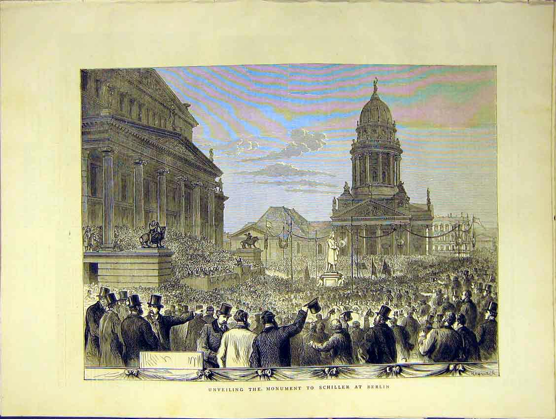 Print Monument Schiller Berlin Unveil Crowds 1871 26Ddd0 Old Original