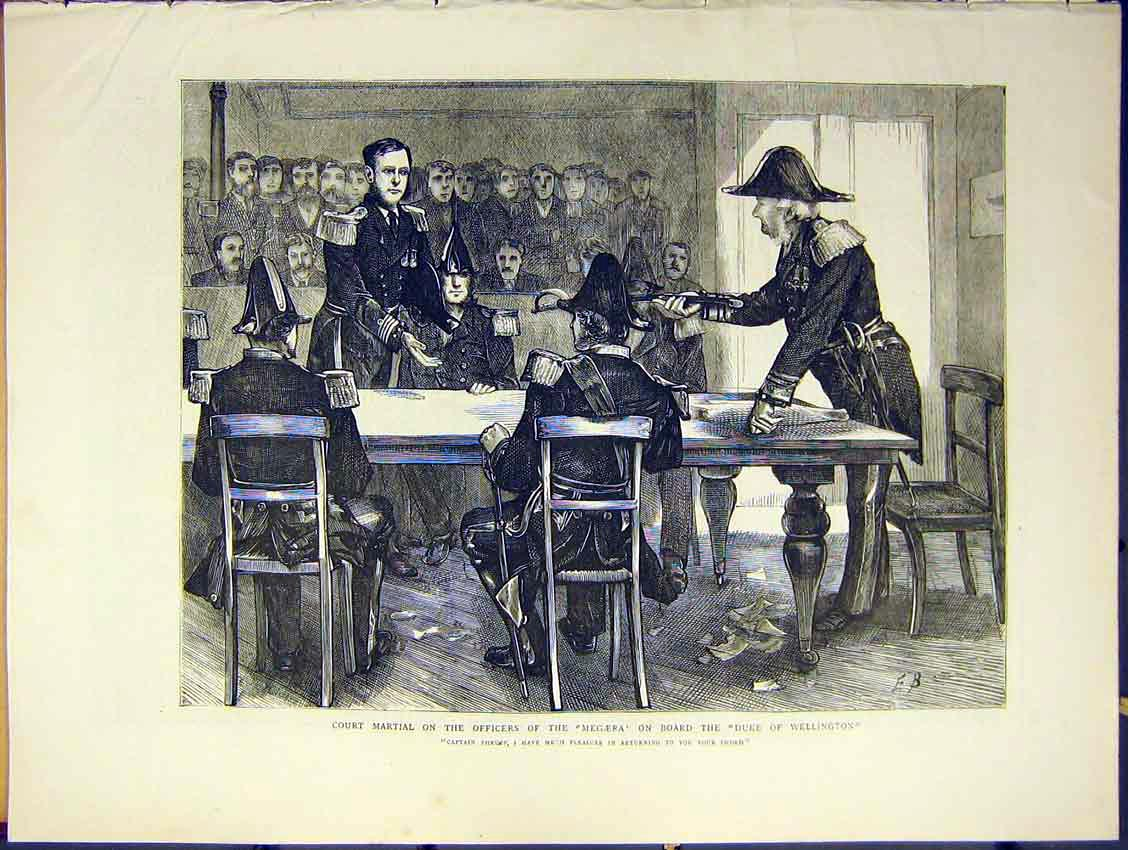 Print Court Martial Officers Megaera Wellington Thrump 1871 34Ddd0 Old Original