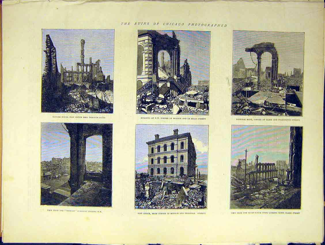 Print Ruins Chicago Honore Tribune Post Court Monroe 1871 46Ddd0 Old Original