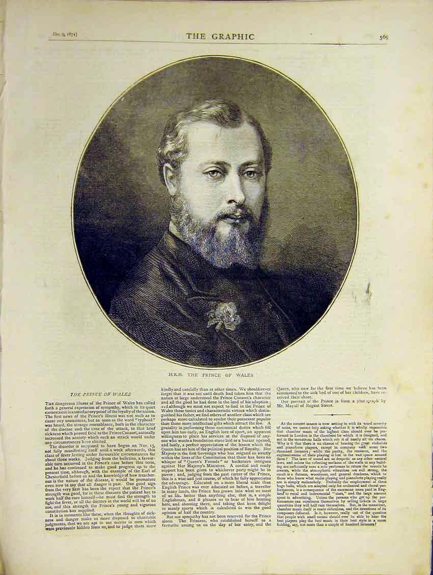 Print Hrh Prince Wales Portrait Illness Editorial 1871 69Ddd0 Old Original