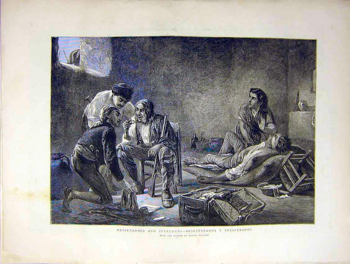 Print Desperadoes Intruders Painting Williams Home 1871 71Ddd0 Old Original