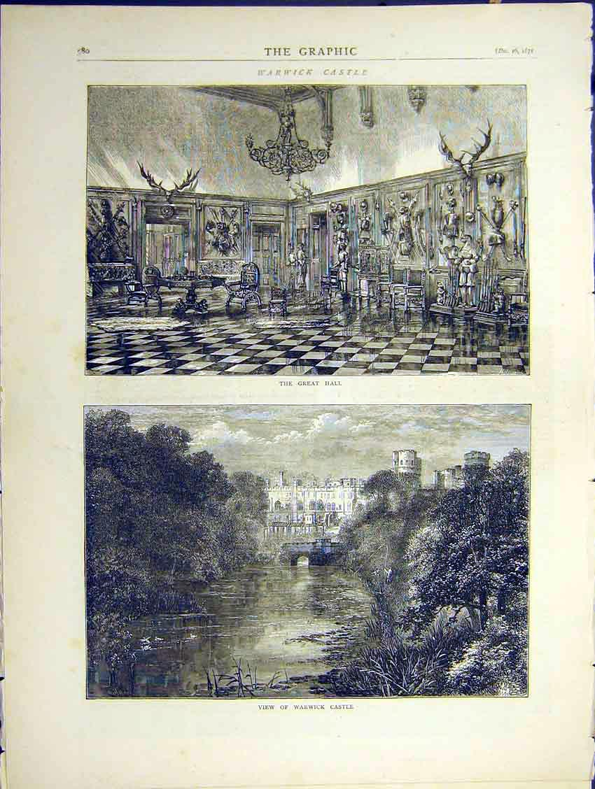 Print Warwick Castle Great Hall River View 1871 80Ddd0 Old Original