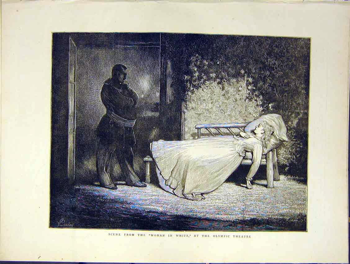 Print Scene Women White Play Olympic Theatre 1871 98Ddd0 Old Original
