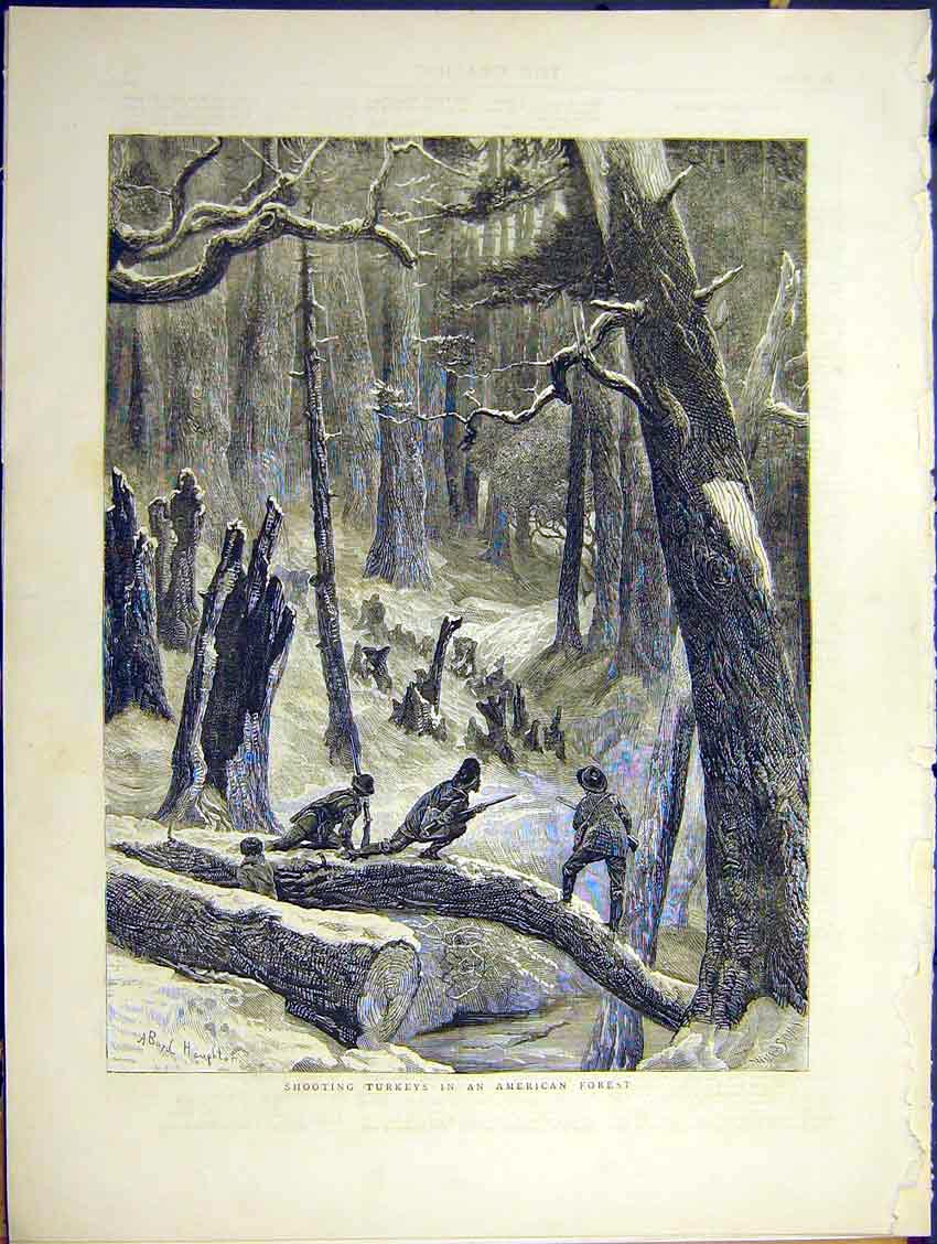 Print Shooting Turkey American Forest Winter Snow Game 1871 15Ddd0 Old Original