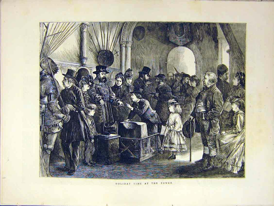 Print Holiday Time Tower London Beef-Eater 1871 31Ddd0 Old Original