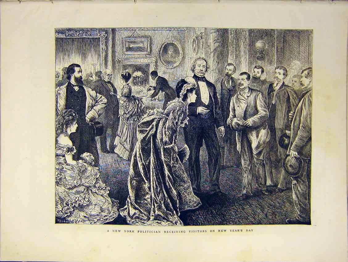 Print New York Politician Receive Visitors Years Eve 1871 34Ddd0 Old Original