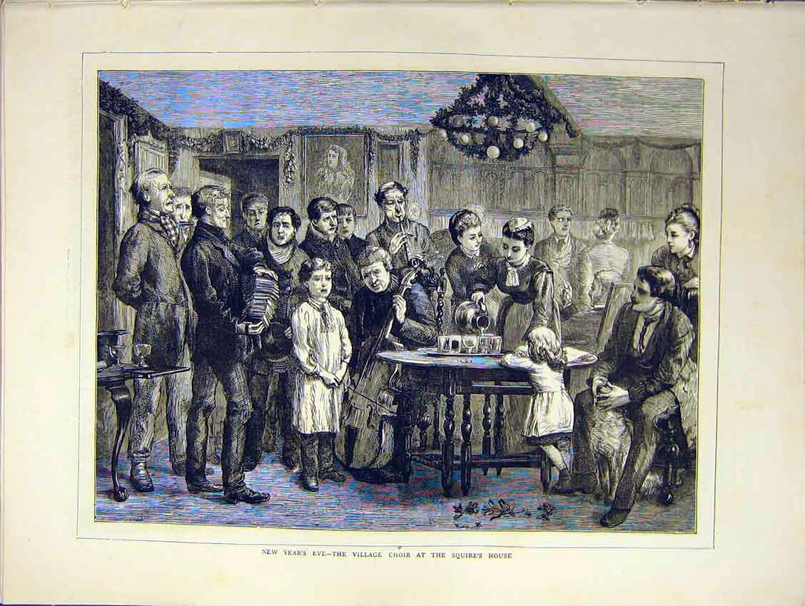Print Year Eve Choir Village Squire House Sing 1871 38Ddd0 Old Original