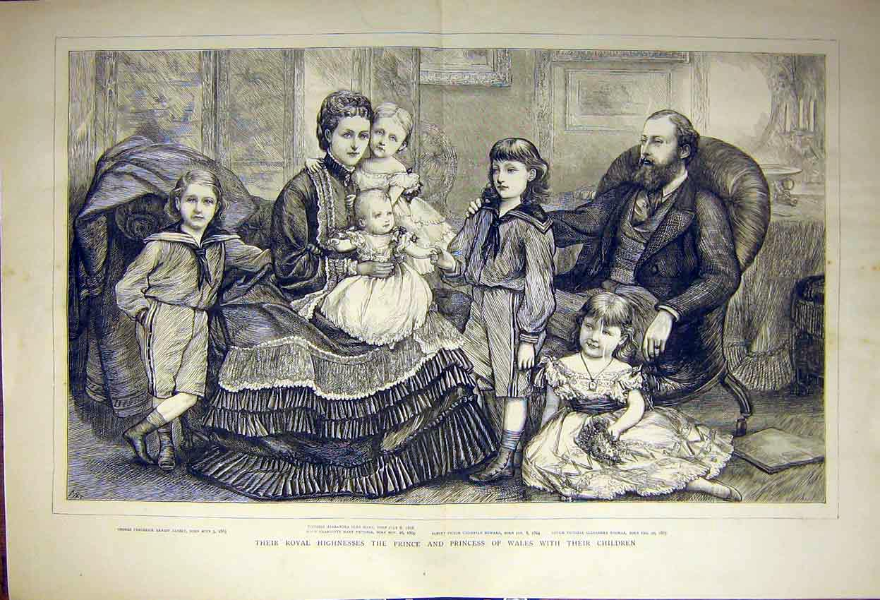Print Royal Family Portrait Prince Wales Children 1871 00Tddd0 Old Original