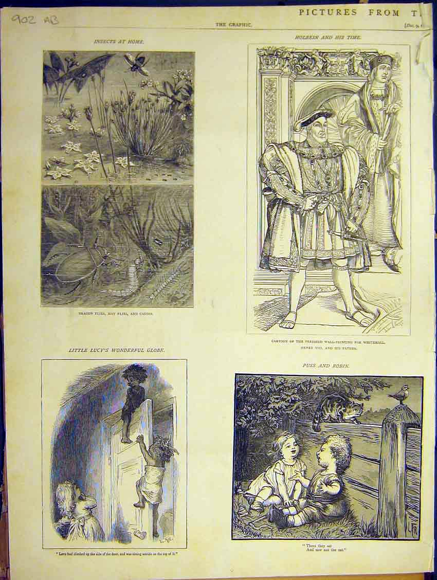 Print Christmas Book Pictures Nazereth Insect St Peter 1871 05Addd0 Old Original
