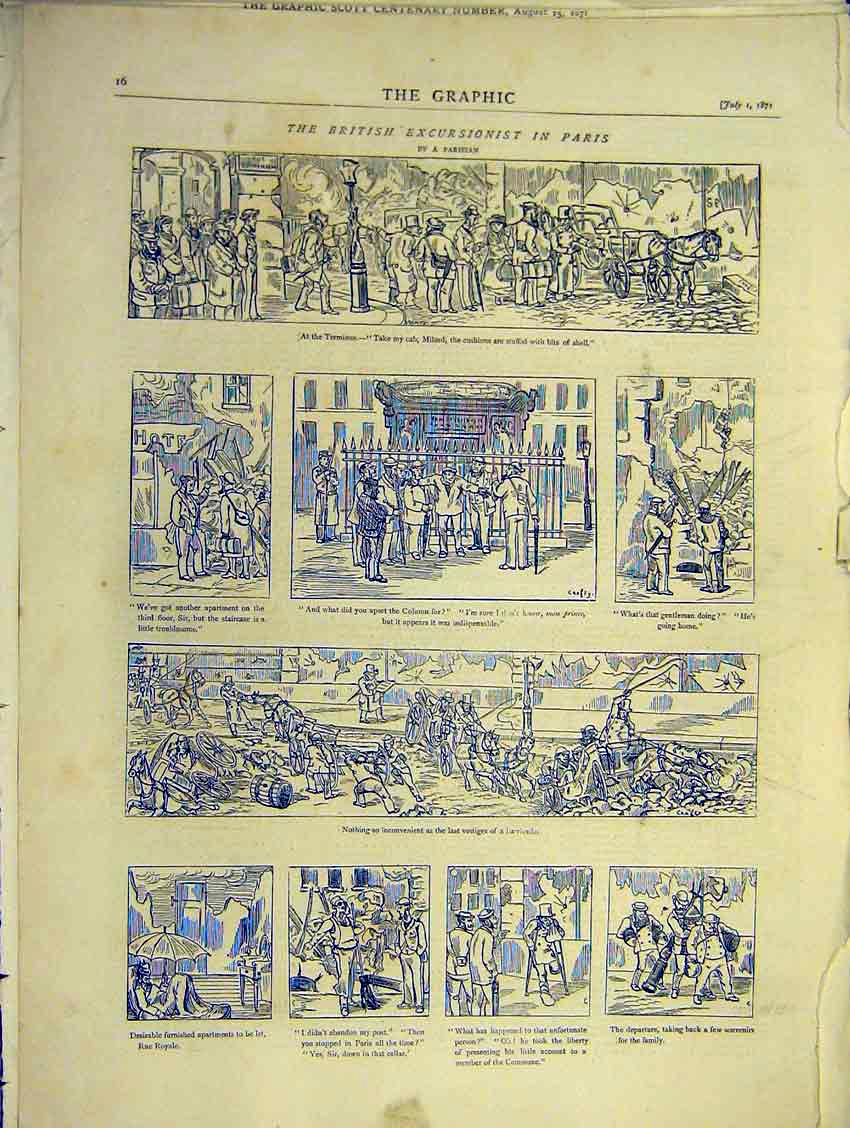 Print British Excursionist Paris Sketches Royale 1871 16Ddd0 Old Original